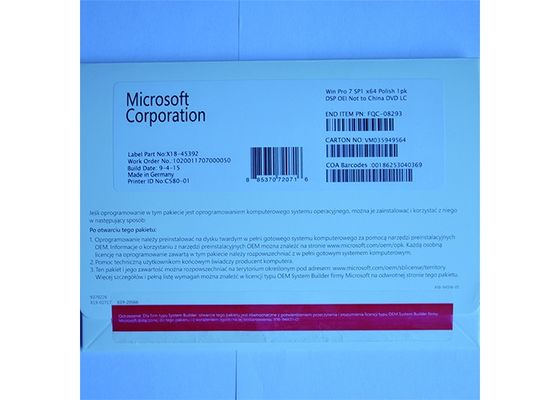 China OEM Package Microsoft Windows 7 Professional License Key Software DVD / COA License supplier