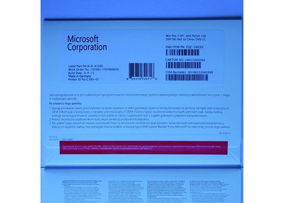 China Windows 7 Pro Pack Full Version OEM 64 bit With Genuine COA Key Sticker supplier