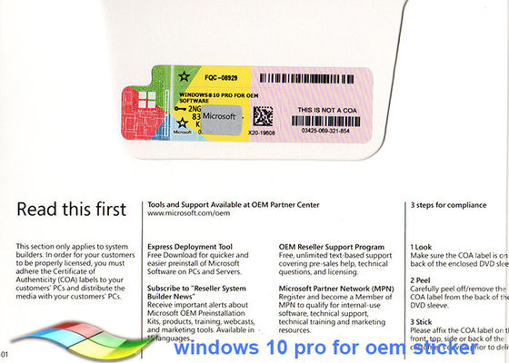China Windows 10 Pro COA Sticker Full Version 64bit Systems Online Activate supplier