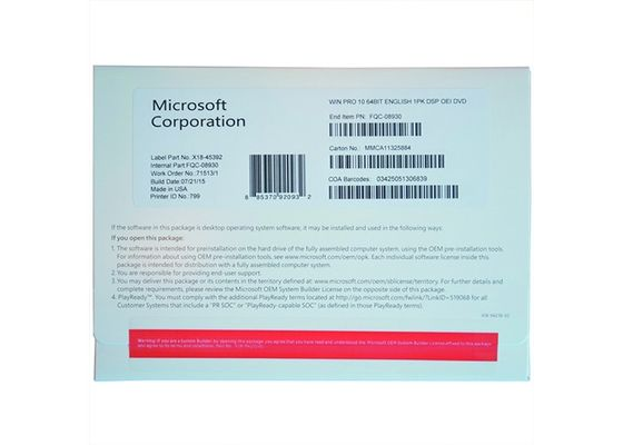 Microsoft Windows 10 Pro OEM Sticker Multi Language Windows 10 Professional 64 Bit Online Activation