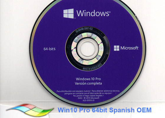 China Genuine Spanish Version Windows 10 Pro OEM Sticker Windows 10 64 Bit Dvd  factory