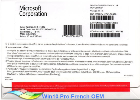 China 100% Original Windows 10 Pro OEM Sticker 64Bit Commericial OEM factory