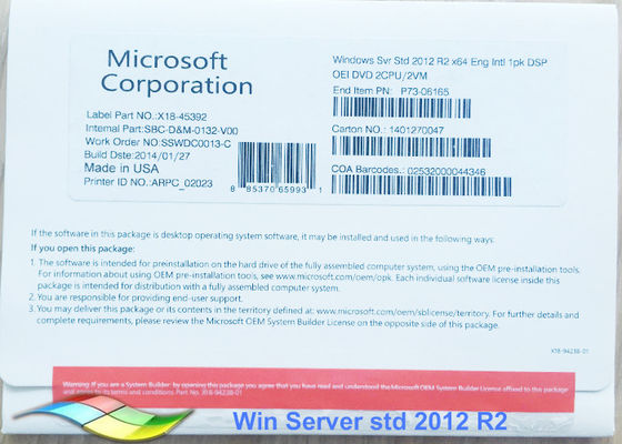 China 100% Original Windows Server 2012 OEM FPP Pack Standard 64bit Online Activate factory