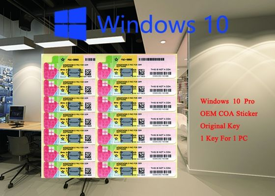 100% Genuine Microsoft windows 10 pro COA sticker 32 64 bit Systems FQC 08983