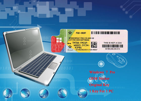 China 100% Original Operating System Microsoft Win 7 Pro Software COA Sticker 64bit Online Activate factory