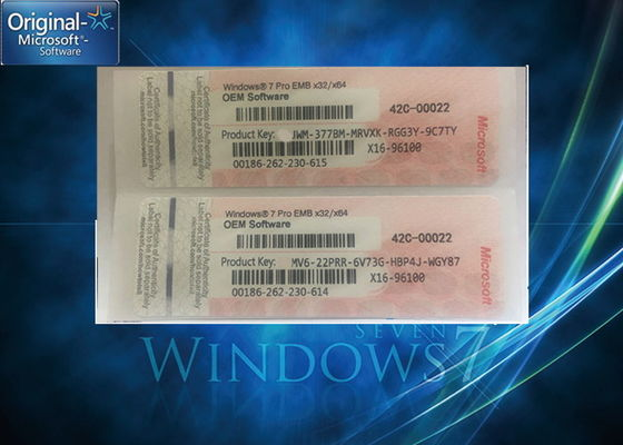 China Genuine Windows 7 Professional Product Key One Key COA License For One PC factory