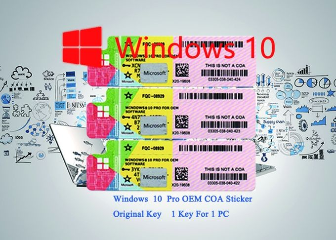 100% Authentic Win 10  pro coa Sticker Activated By Internet 64 bit / 32 bit
